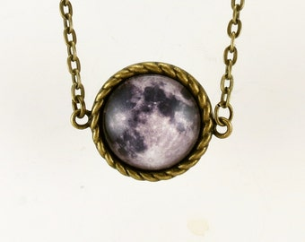 Full Moon Necklace, Moon Pendant, Bronze Moon Charm Jewelry