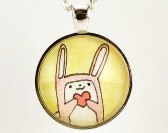 Pink Bunny Rabbit Necklace, Cute Kawaii Jewelry, Romantic Valentine Gift