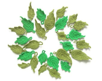 Crochet Green Tree leaves (27pcs)