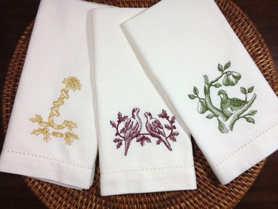 12 days of christmas embroidered cloth dinner napkins for 12 days of christmas table cloth