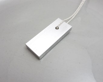 Minimalist Necklace Industrial Jewelry Design Aluminum Pendant
