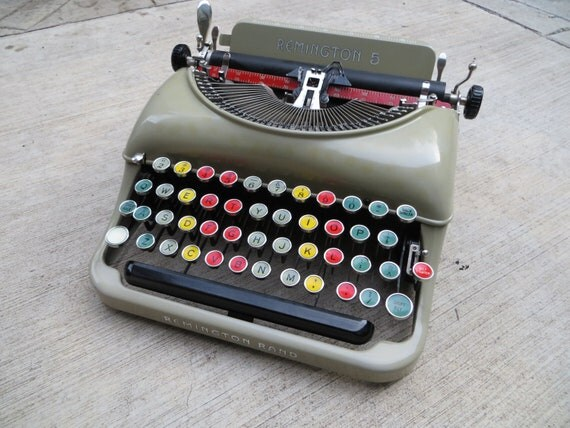 Vintage Typewriter Working Typewriter Remington Typewriter Portable Typewriter Remington Rand 5 with Colored Keys Unique Working Typewriter