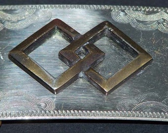 Nickel Silver Plated Interlocking Square Design Belt Buckle