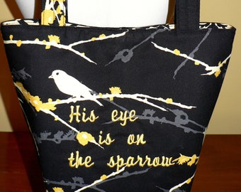 Embroidered Hymn (Spiritual) Purse - His eye is on the Sparrow - uniquely MADE TO ORDER