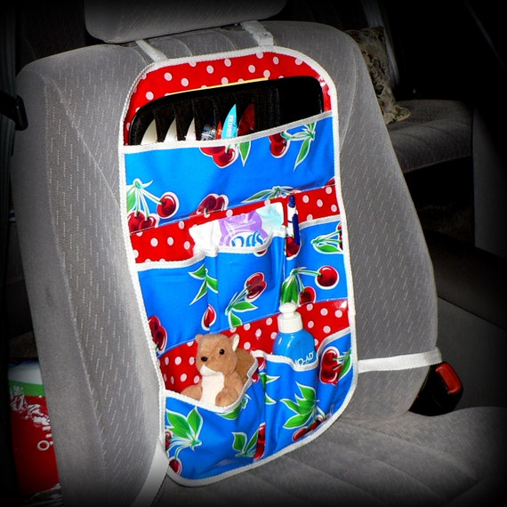 Car Caddy Organizer - Oilcloth - Blue Cherries with Red Polka Dot