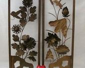 Very Vintage Pair of Wall Hangings - Oriental and Signed - Flowers and Leaves Motif - Metal Sculpture