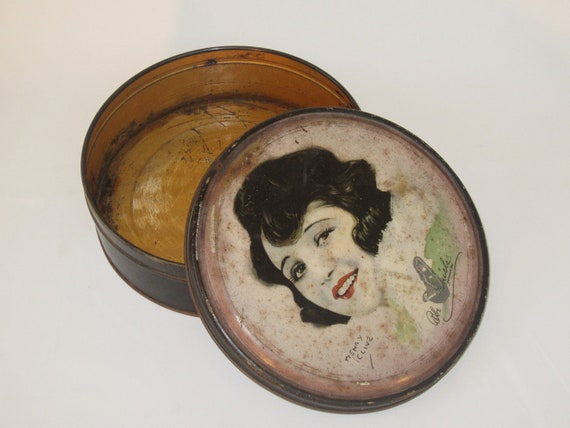 glamourous 1920s beautebox tin with actress bebe daniels - art deco vanity