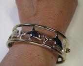 Vintage Two Tone Dolphin Hinged Clamper Bracelet, Bangle Bracelet, Cuff Bracelet