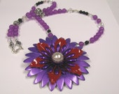 Purple & Red Flower Power Brooch Pendant,  Orchid Jade Beaded Pendant Necklace, Purple Statement Necklace