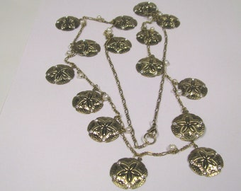 Vintage Sand Dollar Charm Fresh Water Pearl & Rhinestone Necklace gold tone Nautical Necklace