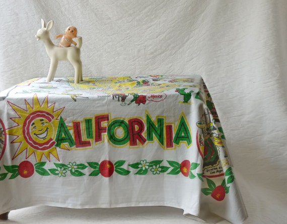 California Tablecoth, 1950s Golden State table cloth
