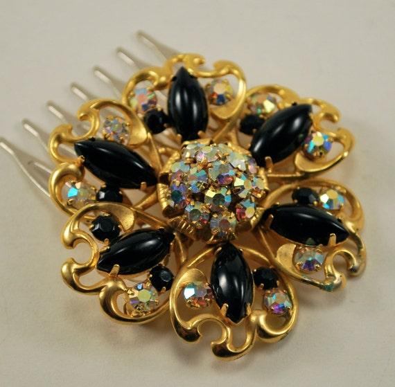 Crystal Hair Clip Black Gold Rhinestone Vintage Hair Brooch Bridal Hair Comb Wedding Jewel Comb, Wedding Hair Accessories