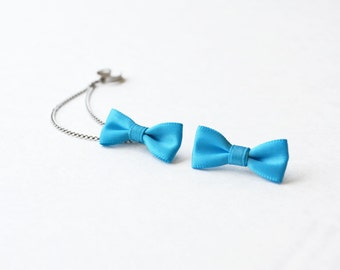 Bright Blue Bow Silver Ear Cuff (Pair)