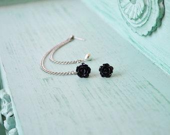 Black Rosette and Heart Multiple Pierce Silver Cartilage Earrings (Pair)