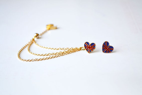 Union Jack Hearts Gold Ear Cuff (Pair)
