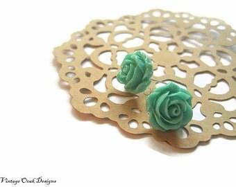 ultramarine green cabbage rose earrings, green earrings, green studs, bridesmaid earrings, ultramarine green
