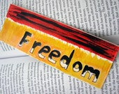 OOAK Original Acrylic Painted Freedom Abstract Art Fire Bookmark