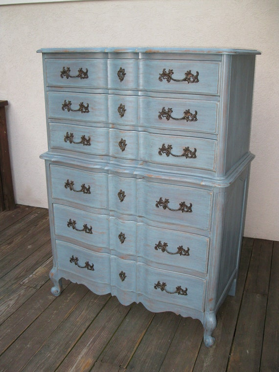 Chic and Shabby Blue Grey Tall Dresser or Bedroom Set