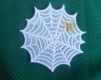 Lace Applique for Crafts or Crazy Quilt - Golden Spider on a  Web