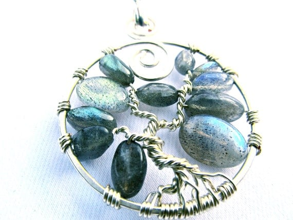 Tree of Life Pendant - Silver Wire and Labradorite Stone Pebble Beads
