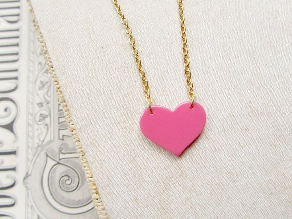 My Heart is Yours, acrylic hot pink heart necklace