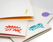 Conversation Cards - Hello, Wow, Thought Bubble, Exclamation - Made with Recycled Papers