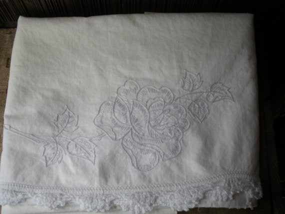 Vintage Embroidered Pillowcase Lavender Rose