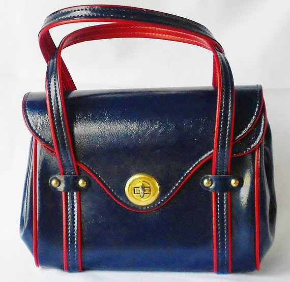 Nautical Navy & Red Purse Americana Pin Up