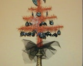 Creepy crawly bats, cats and spiders Halloween tabletop tree