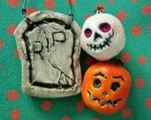 Handmade ornaments, Halloween skull pumpkin tombstone, six pieces