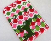 Zipper Pouch with Mod Green, Red, and Pink Circles & Appliqued Green Wool Dog with White Satin Lining