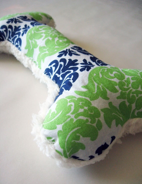 Squeaky Plush Dog Bone Toy, Navy & Lime Baroque Print