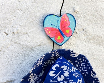 Heart Wall Hanger, Wooden Pink and Blue Wooden Wall Hanging, Colorful Butterfly, Polka Dots, Kids Nursery Decoration, Dorm Decor