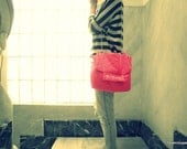 Neon Pink Quilted Cross Body Bag