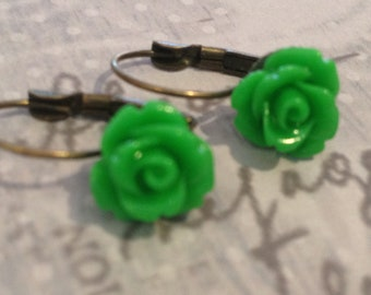 Earrings Dangle Green Rose Cabochon Earrings