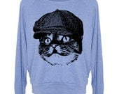 Cat in Hat Women's Wide Neck Pullover Raglan - American Apparel Sweatshirt - S M and L (8 Color Options)