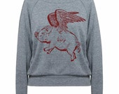 Womens Sweatshirt Flying Pig Tri-Blend Raglan Pullover - American Apparel - S M and L (8 Color Options)