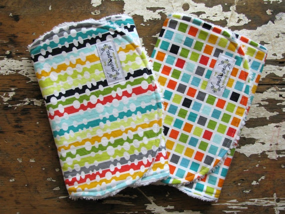 Baby Burp Cloths - Modern Beaded Curtain & Toto Block and - Set of 2 - Gender Neutral