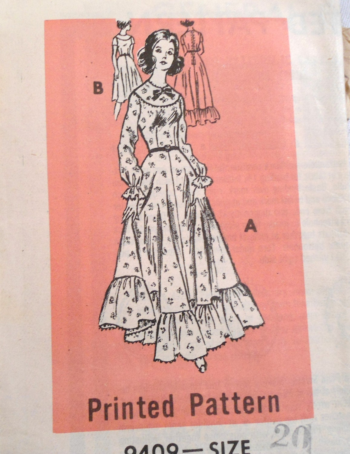 1975 Gunny Sack Dress Vintage Mail Order Pattern 9409 size 20