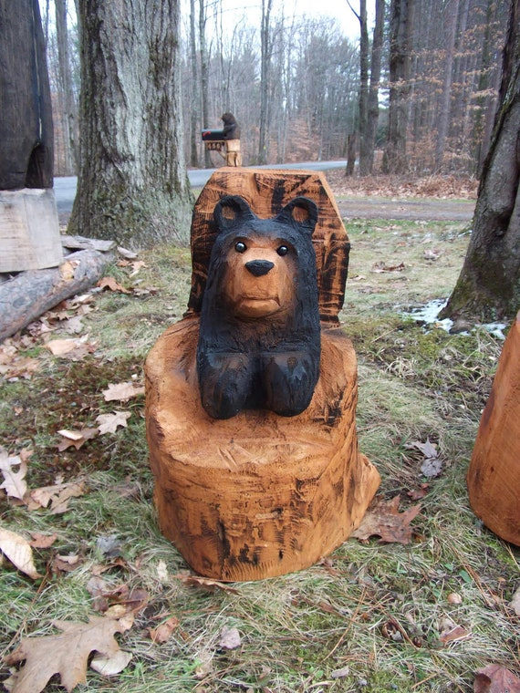 Items similar to chainsaw carved black stump bear on etsy