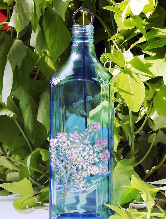 Beautiful Upcycled HERBS Glass Bottle Incense Burner