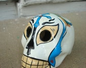 Day of the dead skull ,  handmade lucho libre ceramic skull