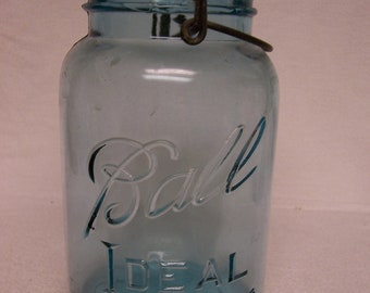 Blue BALL Jar 1 Quart  Mason with Glass Lid and Wire Bail Vintage