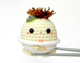 Crocheted Amigurumi - Peace baby MochiQtie - amigurumi doll toy with mochi love