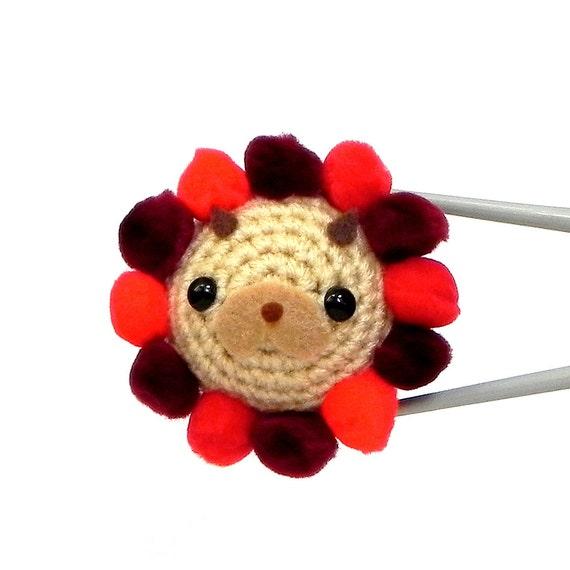 Crochet Amigurumi - PomPom Lion MochiQtie - Mini aniaml amigurumi toy doll