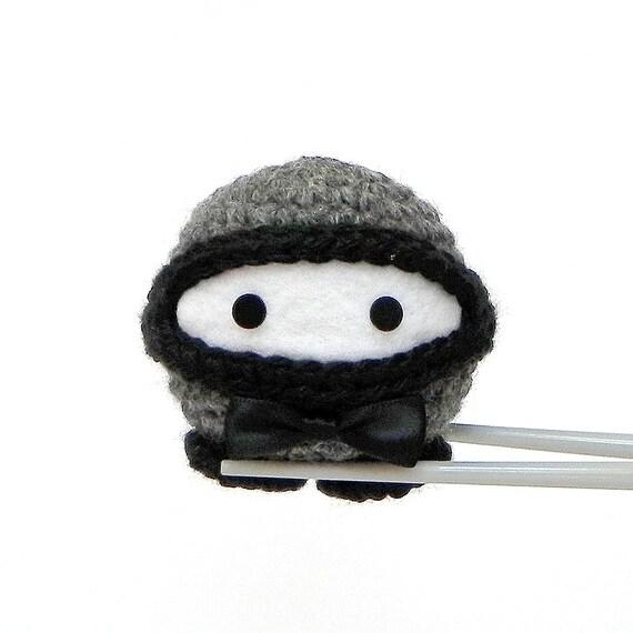 Amigurumi Crocheted stuffed Ninja doll toy - OO7 Ninja MochiQtie crochet amigurumi art doll