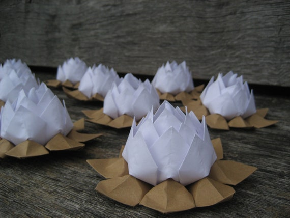 Flowers origami water lily led tealight candle holders paper flower - Items Similar To Lotus Flowers Origami Water Lily Led