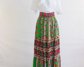 Vintage Long Flowered Ellen Tracy Skirt with Tie Back size small medium