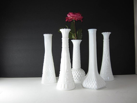Milk Glass Vase's Instant collection of 5 for  Weddings, Showers, Parties, Events