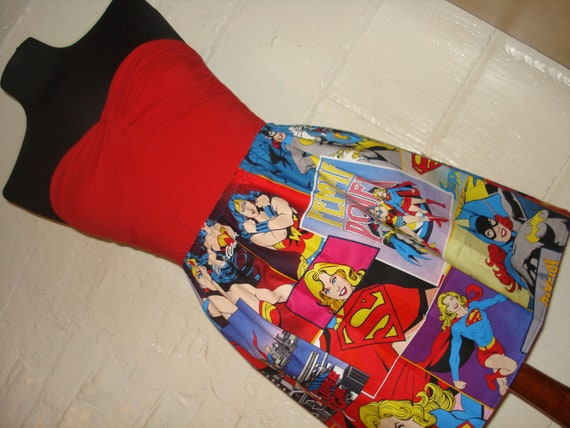 Ladies of DC Comics Mini Skirt with Wonder Woman, Batgirl and Supergirl-  High Waisted Ladies - Handmade Ready to ship
